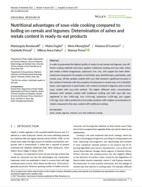 Nutritional advantages of sous-vide cooking compared to boiling on cereals an legumes: determination of ashes and metals content in ready-to-eat products.